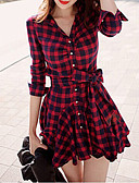 cheap Women's Dresses-Women's Daily / Weekend Casual Lantern Sleeve Mini Sheath Dress - Check Bow Shirt Collar Spring Cotton Red M L XL
