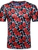 ieftine Maieu & Tricouri Bărbați-Bărbați Tricou De Bază - Floral / Bloc Culoare Imprimeu