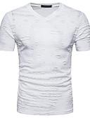 hesapli Erkek Tişörtleri ve Atletleri-Erkek Pamuklu V Yaka İnce - Tişört Örümcek Ağı, Solid Sokak Şıklığı Spor Beyaz / Kısa Kollu / Yaz