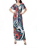 tanie Suknie i sukienki damskie-Damskie Wyjściowe Boho Szczupła Pochwa Sukienka - Kolorowy blok W serek Wysoka talia Maxi