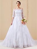 baratos Vestidos de Casamento-Linha A / Princesa Ombro a Ombro Cauda Catedral Renda sobre Tule Vestidos de casamento feitos à medida com Apliques de LAN TING BRIDE®