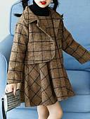 זול שמלות נשים-סט של בגדים כותנה חוטי זהורית פוליאסטר חורף סתיו שרוול ארוך משובץ בנות יום יומי חום שחור