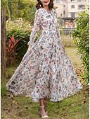 ieftine Rochii Damă-Pentru femei Mărime Plus Size Ieșire / Concediu Șic Stradă Zvelt Șifon / Swing Rochie - Imprimeu, Floral Talie Înaltă Maxi
