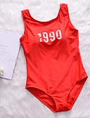 ieftine Tricou-Pentru femei De Bază Cu Bretele / Halter Roșu-aprins Cheeky O Piesă Costume de Baie - Mată / Scrisă Fără Spate / În Cruce / Cu Șiret M L XL / Imprimeu / Sexy