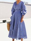 זול שמלות נשים-כחול צווארון V מידי קולור בלוק - שמלה נדן סגנון רחוב בגדי ריקוד נשים