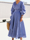 cheap Women's Blouses-Women's Street chic Sheath Dress - Color Block Blue V Neck