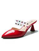 cheap Prom Dresses-Women's Shoes PU Summer Comfort Clogs & Mules Chunky Heel Round Toe Rhinestone Black / Red / Almond