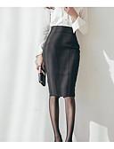 tanie Damska spódnica-Damskie Podstawowy Asymetryczna Bodycon Spódnice Solidne kolory Koronka
