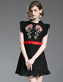 cheap Socks & Hosiery-Women's Embroidery Daily / Going out Mini Slim A Line Dress - Floral Crew Neck Summer Blue Black L XL XXL / Sexy