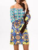 tanie Sukienki-Damskie Boho Puszysta Bawełna Spodnie - Geometric Shape / Kolorowy blok Nadruk Wysoka talia Niebieski / Z odsłoniętymi ramionami / Łódeczka / Święto