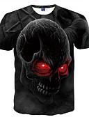 baratos Camisetas & Regatas Masculinas-Homens Camiseta - Diário / Bandagem Moda de Rua / Punk & Góticas Estampado, Caveiras Decote Redondo / Manga Curta