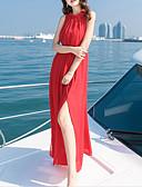 tanie Sukienki-Damskie Wyrafinowany styl Spodnie - Solidne kolory Odkryte plecy Wysoka talia Czerwony / Maxi / Halter / Święto / Wyjściowe