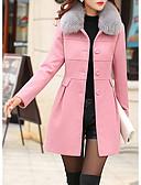 お買い得  レディースコート&トレンチコート-女性用 日常 冬 レギュラー コート, ストリートファッション シャツカラー ソリッド ポリエステル ファートリム
