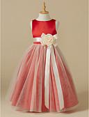 hesapli Çiçekçi Kız Elbiseleri-A-Şekilli Taşlı Yaka Diz Altı Saten / Tül Kurdeleler / Çiçekli ile Çiçekçi Kız Elbisesi tarafından LAN TING BRIDE®