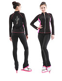 cheap Women's Blouses-Figure Skating Jacket with Pants Women's / Girls' / Boys' Ice Skating Pants / Trousers / Top Sky Blue / Dark Pink Spandex Stretchy
