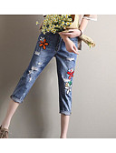 baratos Blusas Femininas-Mulheres Básico Jeans Calças - Geométrica