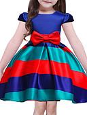 baratos Relógios Mecânicos-Menina de Vestido Para Noite Feriado Listrado Poliéster Manga Curta Fofo Princesa Azul