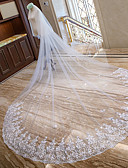 cheap Wedding Veils-Two-tier Lace Applique Edge Bridal Wedding Veil Chapel Veils Cathedral Veils 53 Scattered Bead Floral Motif Style Splicing Lace Tulle