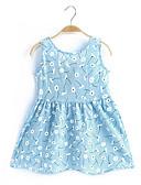 hesapli Elbiseler-Toddler Genç Kız Desen Kolsuz Pamuklu Elbise Doğal Pembe / Sevimli