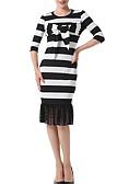 رخيصةأون فساتين نسائية-طول الركبة شرابة, مخطط - فستان غمد أناقة الشارع للمرأة