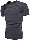 tanie Koszulki i tank topy męskie-T-shirt Męskie Moda miejska Bawełna Okrągły dekolt Solidne kolory / Krótki rękaw