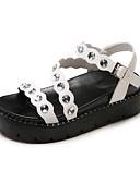 baratos Vestidos de Mulher-Mulheres Sapatos Couro Ecológico Verão Chanel Sandálias Salto Baixo Ponta Redonda Miçangas Branco / Preto