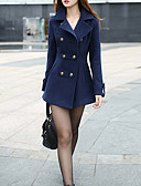 cheap Women's Coats & Trench Coats-Women's Going out Vintage Cute Cotton Coat - Solid Colored, Pleated