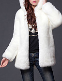 cheap Women's Fur Coats-Women's Street chic Plus Size Fur Coat - Solid Colored, Fur Trim