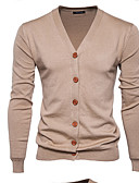 cheap Men's Sweaters & Cardigans-Men's Active Long Sleeve Slim Cardigan - Solid Colored V Neck