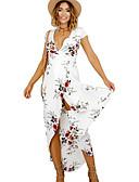 זול טייצים-צווארון V מידי דפוס, גיאומטרי - שמלה נדן חוף בגדי ריקוד נשים / קיץ