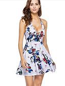 זול שמלות נשף-צווארון V מעל הברך דפוס, גיאומטרי - שמלה גזרת A בסיסי בגדי ריקוד נשים / קיץ / גב חשוף / דפוסי פרחים