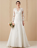 cheap Wedding Dresses-A-Line V Neck Sweep / Brush Train Satin / Lace Over Tulle Made-To-Measure Wedding Dresses with Appliques by LAN TING BRIDE® / Illusion Sleeve / Open Back / Royal Style