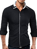tanie Męskie koszule-Koszula Męskie Niejednolita całość Szczupła - Jendolity kolor / Długi rękaw