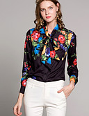 cheap Women's Tops-Women's Basic Shirt - Solid Colored / Floral Shirt Collar