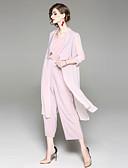 ieftine Costum Damă Două Bucăți-Pentru femei De Bază Ieșire Zvelt Set - Dungi, Pantaloni Peteci Guler Cămașă