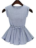 cheap Women's Shirts-Women's Basic T-shirt - Striped Bow