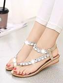 hesapli Göbek Dansı Giysileri-Kadın's Ayakkabı PU Yaz Rahat Sandaletler Düz Taban için Altın / Gümüş