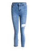 ieftine Pantaloni de Damă-Pentru femei De Bază Bumbac Blugi Pantaloni - Mată Albastru piscină