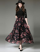 cheap Mother of the Bride Dresses-Women's Lace Party / Going out Street chic / Sophisticated Maxi Swing Dress - Floral Lace / Bow High Waist Crew Neck Spring Black M L XL