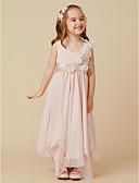 olcso Virágszóró kislány ruhák-A-vonalú Térdig érő Virágoslány ruha - Tüll Ujjatlan V-alakú val vel Csokor / Virág által LAN TING BRIDE®