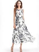 tanie Suknie i sukienki damskie-Damskie Wyjściowe Podstawowy Linia A / Swing Sukienka - Geometric Shape Midi / Lato / Wzory kwiatów