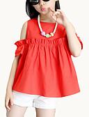 tanie Sukienki dla dziewczynek-Dzieci Dla dziewczynek Moda miejska Codzienny Solidne kolory Krótki rękaw Bawełna / Poliester Komplet odzieży Czerwony 140