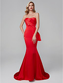 cheap Wedding Dresses-Mermaid / Trumpet Sweetheart Neckline Sweep / Brush Train Satin Chiffon Cocktail Party / Prom / Formal Evening Dress with Draping by TS Couture®