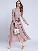 baratos Vestidos de Mulher-Mulheres Moda de Rua balanço Vestido - Renda, Sólido Longo