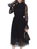 זול שמלות נשים-צווארון עגול קצר מידי תחרה, אחיד - שמלה סווינג שרוול התלקחות חגים בגדי ריקוד נשים / קיץ