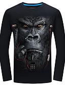 billige T-skjorter og singleter til herrer-Bomull Tynn Rund hals Store størrelser T-skjorte Herre - Dyr Aktiv / Grunnleggende / Langermet