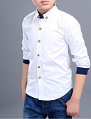 cheap Men's Shirts-Kids Boys' Simple Solid Colored / Patchwork Long Sleeve Cotton Shirt