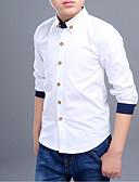 tanie Topy dla chłopców-Dzieci Dla chłopców Prosty Solidne kolory / Patchwork Długi rękaw Bawełna Koszula Biały 150