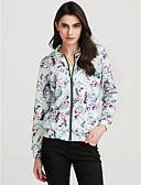 ieftine Leggings-Pentru femei Zilnic / Sport Șic Stradă Primăvară / Toamnă Regular Jachetă, Floral / Botanic Stand Manșon Lung POLY Albastru piscină M / L / XL