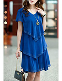 cheap Plus Size Dresses-Women's Plus Size Street chic Loose / Chiffon Dress - Solid Colored Blue, Ruffle / Summer